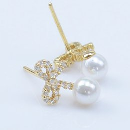 Wholesale Stud Bow Tie - DORAPANG New Jewelry Bow tie Diamond Pearl Earrings Stud 925 Sterling Silver Freshwater Pearls Earrings Wedding Party Free Shipping ED1017