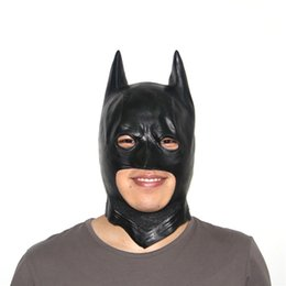 Wholesale kids latex costume - Halloween black face batman mask costume adult kids full facial blackhead cosplay latex scary mask Gift masks for New Year Party