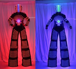 Wholesale Led Robot Costumes - RGB Flashing LED Costume  LED Stilts Walker  Light suits  LED Robot suits  Kryoman robot  david guetta robot with Helmet