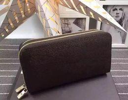 Wholesale Man Wallet Pouch Coin - 2018 New Famous Designer Luxury Brand Original pu Leather Wallets Men Women Long Purses money Bags Double Zipper Pouch Coin Pockets