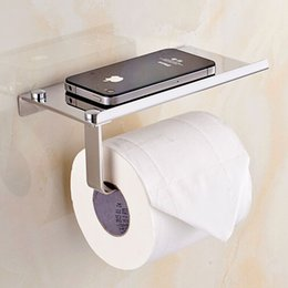 Wholesale Toilet Paper Shelf Holder - Wholesale- New Stainless Steel Tissue Holder Hanging Toilet Roll Paper Holder Towel Rack Mobile Phone Soap Shelf Bathroom Accessories