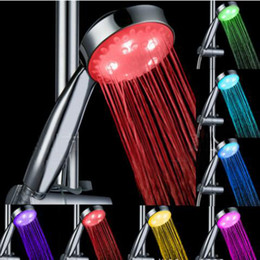 Wholesale led light shower heads - 7 Color Light Head Shower Automatic Head Color Changing Lighted Bathroom LED Shower Head Glow No Battery Led Shower