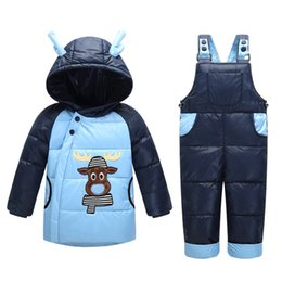 Wholesale Cow Boy Jackets - 2016 new cow 2pcs set Winter Children's Clothing Kids Suit Baby Girls Down Coat Warm Snowsuits Jackets Pants 0-4years T0188