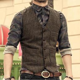 Wholesale Mens Dinner Suits - 2018 Brown Wool Herringbone Tweed Vest England Vintage Mens tweed casual suit vest Slim fit Vest dinner party Wedding Waistcoat
