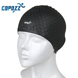 Wholesale Waterproof Swim Caps Hair - Wholesale- COPOZZ Silicone Waterproof Men Women Swimming Cap Swim for Long Hair Hat Cover Ear Bone Pool