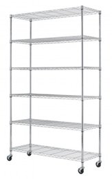 "Wholesale Folding Clothing Racks - Chrome 82""x48""x18"" 6 Tier Layer Shelf Adjustable Wire Metal Shelving Rack With Wheels"