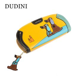 Wholesale Leather Dog Wallet - Wholesale- DUDINI New Arrive Fashion Cute Puppy Zipper Long Wallet Cartoon Dog 6 Colors PU Leather Women Wallets Ladies Clutch Card Holder
