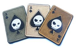 Wholesale Badge Army - TAD Death Card Rectangular Patch Embroidery Poker Tactical Patches Hook And Loop Morale Armband Army Combat Badge 30pcs