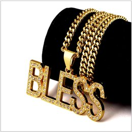 Wholesale hiphop diamond jewelry - Fashion 18K gold letter Bless Rhinestones Diamond Pendants Necklaces men women HIPHOP hip hop nightclub charm chain necklaces Jewelry gifts