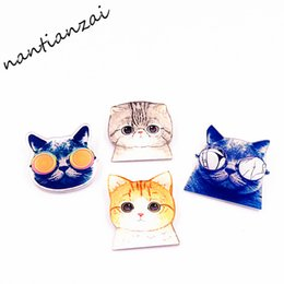 Wholesale Cool Brooches - MOQ=20pcs Free Shipping Cartoon Acrylic Cute Cat Cool Meow Star Man Brooch Clothes Backpack Accessories Badges Decoration Pin Brooch Gifts