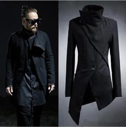 Wholesale Mens Korean Cotton Jackets - Wholesale- 2017 Korean Harajuku Gothic Irregular Designer Punk Men's Overcoat Long Black Mens Trench Coat Men Slim Fit Jacket Windbreaker