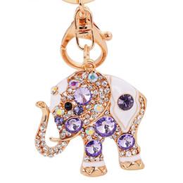 Wholesale Cute Elephant Keychains - Bling Crystal Rhinestone Cute Elephant Metal Keychain Keyring Car Keychains Purse Charms Handbag Pendant
