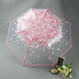 Wholesale Clear Mushroom Umbrellas - Umbrella Sakura Girl Clear Rainproof Stylish Simplicity Deep Dome Apollo Transparent Umbrella Mushroom Umbrella Rain Sun Women PVC