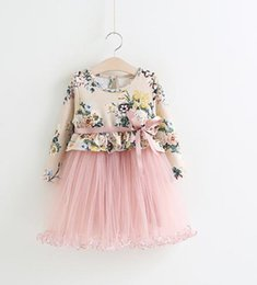 Wholesale Voile Ribbon Wholesaler - Fairy Girls Flower Print Gauze Dresses with Ribbon Strap Kids 2017 Spring Boutique Clothing Little Girls Princess Voile Prom Dresses