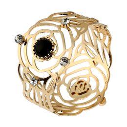 Wholesale Crystal Flower Bangle Cuff - 2017 Fashion Crystal Gem Cuff Charm Bracelets Statement Gold-Color Punk Hollow Flower Pattern Bangle Bracelet Women Jewelry Free shipping