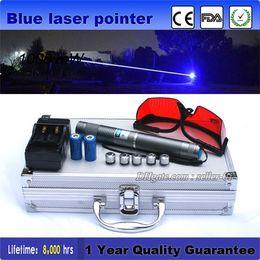 Wholesale Burning Laser Blue High Powered - Astronomy Military High Power 450nm Blue Laser Pointer Pen Burning laser Lazer Flashlight Visible Beam + Battery Charger + Sunglasses
