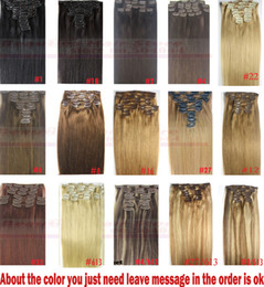 "Wholesale Straight Remy Mix Length - ZZHAIR 16""-32"" 100% Brazilian Remy Human hair Clips in on Human Hair Extension 10pcs set Full Head 120g-220g Straight Hair"