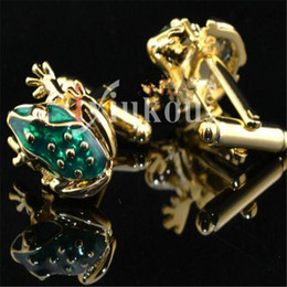 Wholesale Men Cuff Links Animal - Gold Frog Animal Fashion Men Jewrlry Cufflinks for Men's Cuff Nail Free Shipping Fashion Jewelry Accessory