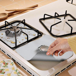 Wholesale Protection Stick - Wholesale- 4pcs Removable Easy Clean Square Foil Gas Hob Protector Liner Non-stick Stove Protection Mat Cleaning Kitchen Tools D0429