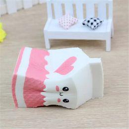 Wholesale Fun Retail - Cool Cute Jumbo Squishy Milk Box Cartoon Slow Rising Toys Phone Straps Pendant Sweet Cream Scented Bread Kids Fun Toy Gift