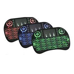 Fly Air Mouse 2.4G Mini i8 Tastiera wireless retroilluminata con retroilluminazione Rosso Verde Blu Telecomando per MXQ M8S MiniX da