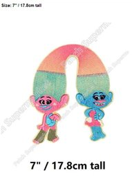 "Wholesale Satin Patches - 7"" Satin and Chenille trolls Large Felt Applique Patches for clothing Iron On TV Moive series Cartoon figure shirt tranfer girls"