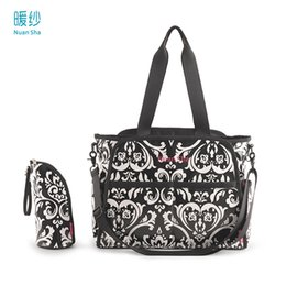 Wholesale Nappies Patterned - Wholesale-Nuan Sha Waterproof Cotton Canvas Baby Diaper Nappy Changing Bag Set Wetbag Messenger Women Bags For Mum Chic Floral Pattern