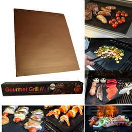 heating pads Promo Codes - BBQ Grill Mat Non-stick Barbecue Mats Durable Sheet Pad 40*33cm Baking Liners Heat Resistance Microwave Oven Cooking Tool