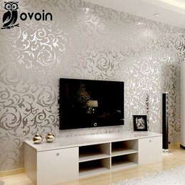Wholesale modern damask wallpaper - Wholesale-Victorian Damask wallpaper silver leaf scroll background wall paper roll vinyl damask wallpaper bedroom,living room decor