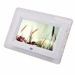 Wholesale Movies Mp4 - Wholesale-New Multi-functional 7 inch TFT-LCD desktop hd Digital Photo Frame Remote control Movies MP3 MP4 Player Music Alarm Clock