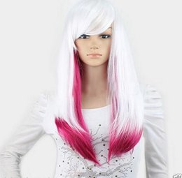 Wholesale Wigs Rose Red - New Cosplay Fashion White Rose Red Long Straight mixed Wigs