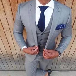 Wholesale Cheap Plus Size Khaki Pants - Chic Silver Gray Groom Suits Classic Fit Peak Lapel One Button Men Suits Fashion Cheap Wedding Groomsmen Suits Tuxedos (Jacket+Pants+Vest)