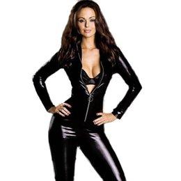 Wholesale Leather Playsuit - Wholesale- HU&GH Catwomen Faux Leather Latex Zentai Catsuit Smooth Wetlook Jumpsuit Front Zipper Elastic Black PU Full Bodysuit Playsuit