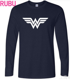 Wholesale Blue Wonder Blueing - 2017 Fashion Wonder Woman T-shirts Men's Long Sleeve Cotton Black Casual O-Neck Funny Graphic Tshirts Fashion Casual Tee Top