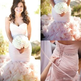 Discount wedding dress crystal sash blush - 2017 Vintage Mermaid Wedding Dresses Blush Wedding Gowns Crystals Beading Sash Sexy Sweetheart Lace-up Back Pleat Bridal Gowns Court Train