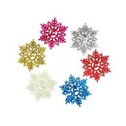 Wholesale Wholesale Artificial Xmas Trees - Wholesale-6Pcs set 11cm Christmas Snow Powder Artificial Snowflakes Pendants Christmas Tree Ornaments Party Decoration For Xmas Supplies
