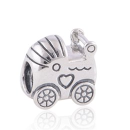 Wholesale Fashoin Jewelry - Wholesale- Fits European Charms Bracelet Sterling Silver Jewelry Beads Screw Hole Baby Cart Pattern Fashoin DIY Fine Jewelry Findings