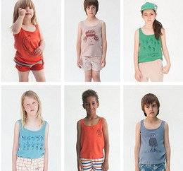 Wholesale Toddler Boy Tanks Wholesale - 2017 bobo Boys Girls Baby Childrens Vest Summer Cotton Tank Top Clothing Cartoon Print Tops Tees Toddler Kids Boutique Clothes
