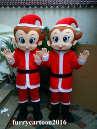 Wholesale Wholesale Party Mascot Costumes - Lovely Christmas Monkey Mascot Costume Halloween Costumes Christmas Party Adult Size animal cartoon costume Fancy Dress Free Shipping