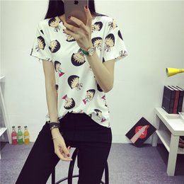 Wholesale Maruko Chan - Wholesale-2016 Women's Summer T-Shirt Clothes Shirt O-neck Chibi Maruko Chan Printed Short Bottoming Tops Free Shipping