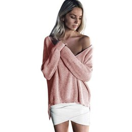 Wholesale Plus Size Off Shoulder Sweater - Wholesale-Plus size Sweater Deep Vneck Off Shoulder sweater women Autumn winter loose long sleeve Knitted tops Fashion pullovers jumper