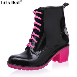 Wholesale Lace Up Rain Boots Women - Wholesale-Fashion Women Rubber Rain Boots 11 Candy Colors High Heels Mid-Calf Rubber Rainboots Lace-Up Water Shoes XWN0141