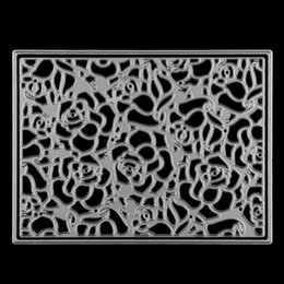 Wholesale Diy Albums - Flower Pattern Frame Ectangle Embossing Cutting Dies Stencil DIY Scrapbooking Album Cards Paper Decor Metal Craft