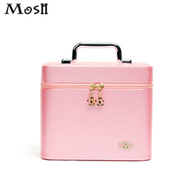 Wholesale Storage Box Vanity Case - Wholesale- Travel Portable Professional Cosmetic Box High Quality Pu Leather Makeup Organizer Storage Box Fashion Beauty Vanity Train Case