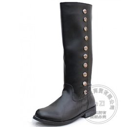 Wholesale Mens Square Studs - Long Tactical Horse Mens Winter Cowboy Riding Biker Western Boots Simple Zip Trendy Knee High Pointy Personality Cool Studs