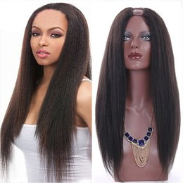 Wholesale human u part wig - Kinky Straight U Part Human Hair Wigs For Black Women U Part Wigs Malaysian Virgin Hair Yaki Natural Color 8-24 inch