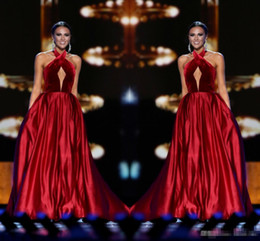 Wholesale Sexy Red Wine - Wine Red Miss USA Pageant 2017 Evening Gowns Keyhole Neck Sleeveless with Pockets A-Line Women Formal Occasion Wear Long Prom Party Dresses