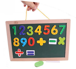 Wholesale Double Sided Blackboard - Wholesale- BOHS Child Hanging Double Sides Magnetic Mathematics Drawing Board Blackboard Whiteboard Hang to the Wall