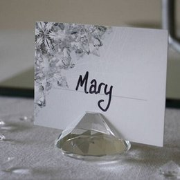 Wholesale Diamond Place Card Holder Wedding - 100PCS LOT Wedding Diamond Shaped Crystal Place Card Holder for Wedding Table Decoration Party Favor Gifts Free Shipping