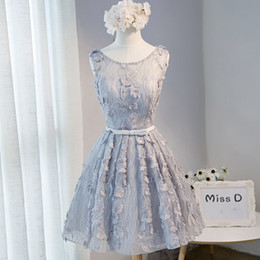 Wholesale Plus Size Winter Mini Skirt - Silver A Line Sleeveless Short Homecoming Bridesmaid Dress 2017 Lace Pageant Cocktail Party Skirt Open Back Graduation Prom Gown Sexy